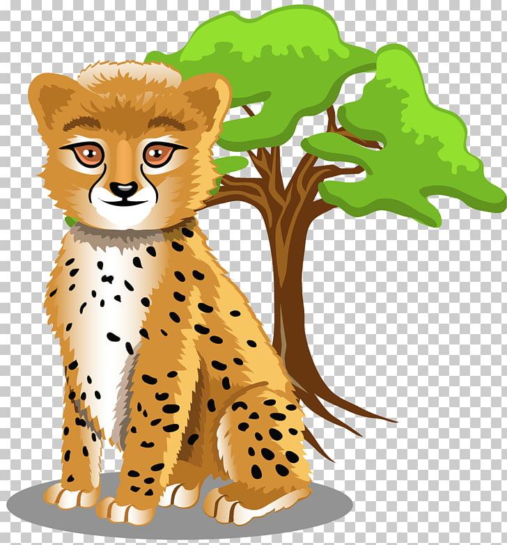 Baby Jungle Animals Cartoon Hippopotamus Animation, cheetah.