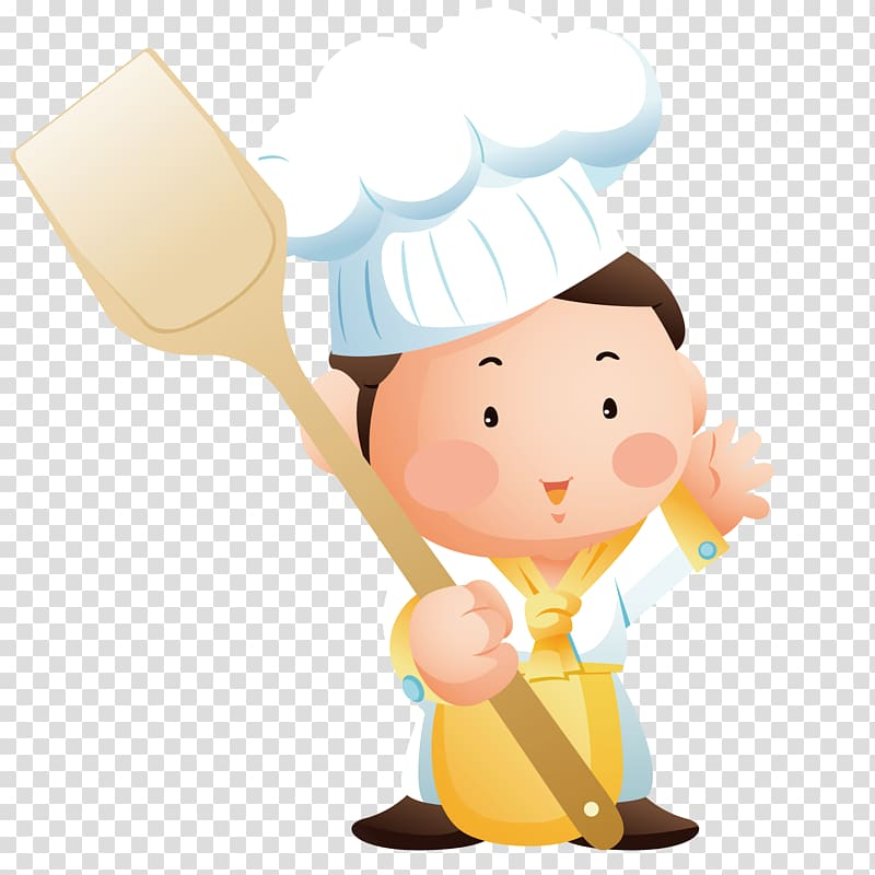 Chef holding spatula illustration, Cooking Chef, The chef.