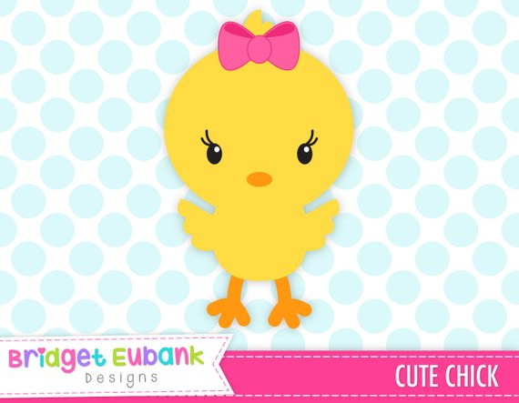 Chick clipart, Easter clipart, girl chick clipart, cute chick, baby.