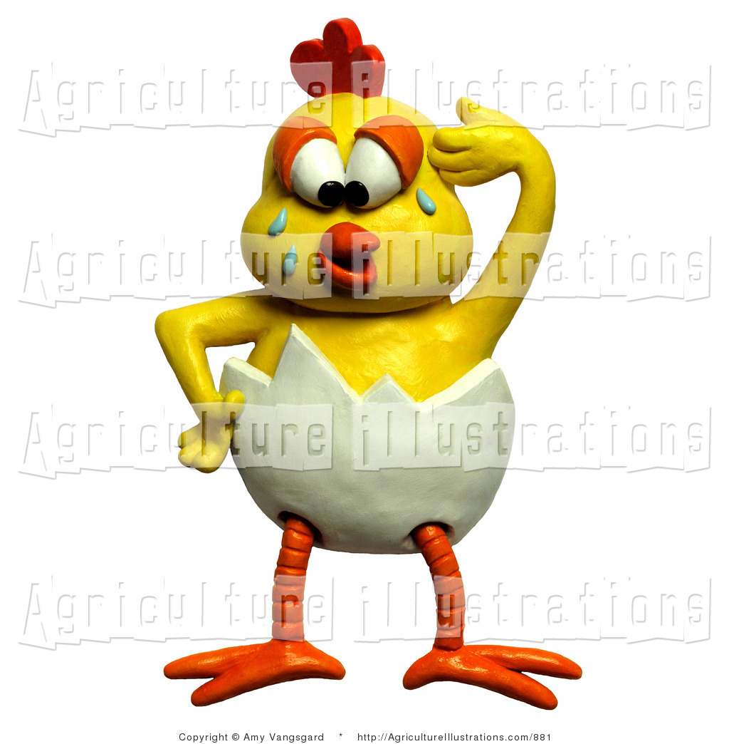 Agriculture Clipart of a 3d Upset Chick Crying and Trying to.