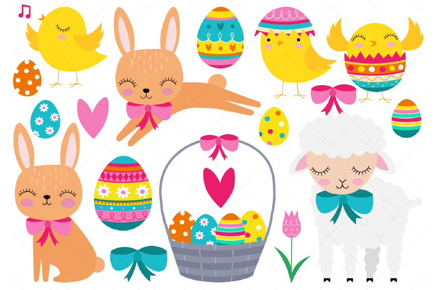 Easter Clipart, Easter Baby Animals, Chick, Bunny, Lamb.