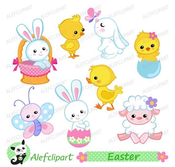 Easter clipart, Easter Bunny and Chicks Clipart. Digital.