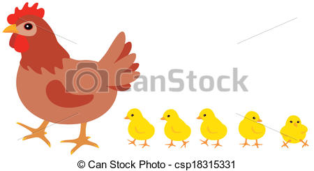 Hen With Chicks Clipart.