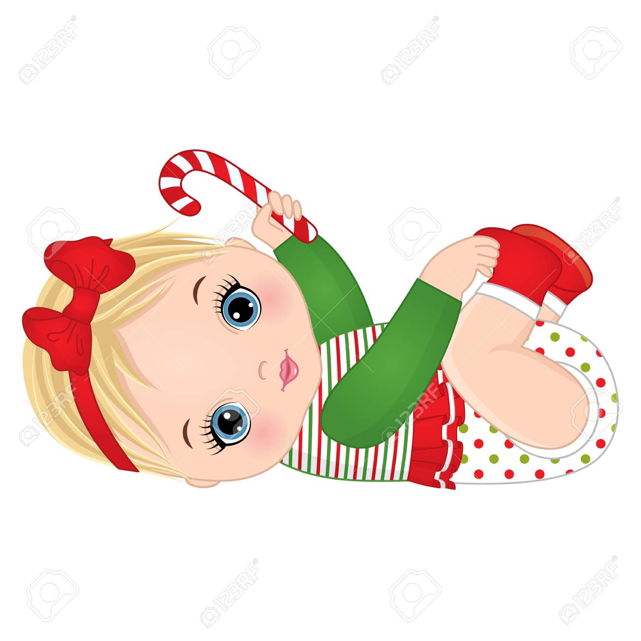 Vector cute little baby girl wearing Christmas clothes. Vector...