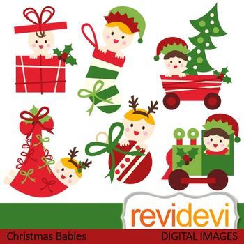 Christmas Babies Clip art (red, green, cute baby) clipart 08113.