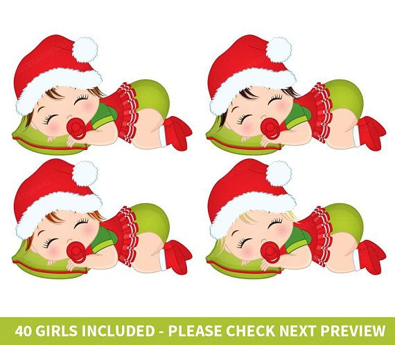 Christmas Baby Girl Clipart.