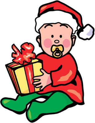 Image: Christmas Baby with Gift Image.