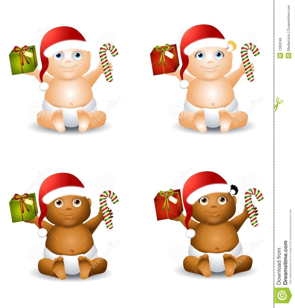 Christmas Baby Clip Art stock illustration. Illustration of gifts.