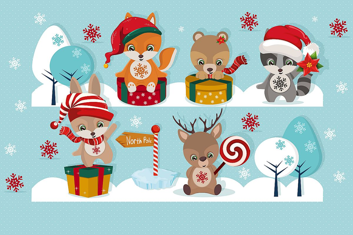 Christmas clipart, Christmas illustration, Baby animals.