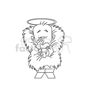 merry christmas baby jesus cartoon black white clipart. Royalty.