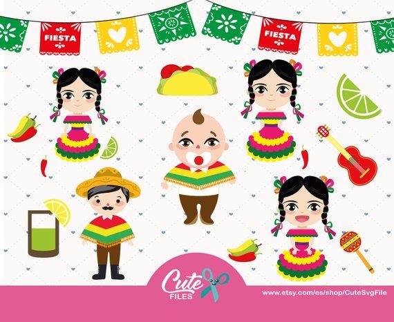 México clipart set, Babies Mexican Folklore, Clipart, Party.