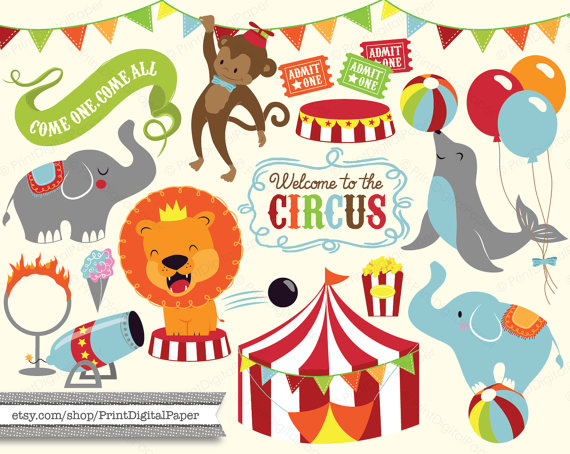 Cute Baby Circus Digital Clip Art Download illutrated.