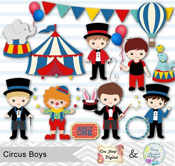 Boys Circus Digital Clip Art, Baby Boy Circus Party, Circus.