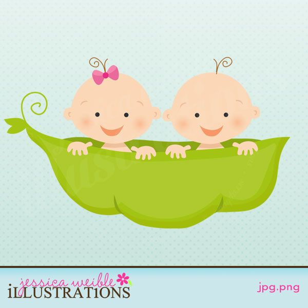 Twin Babies in a Peapod.