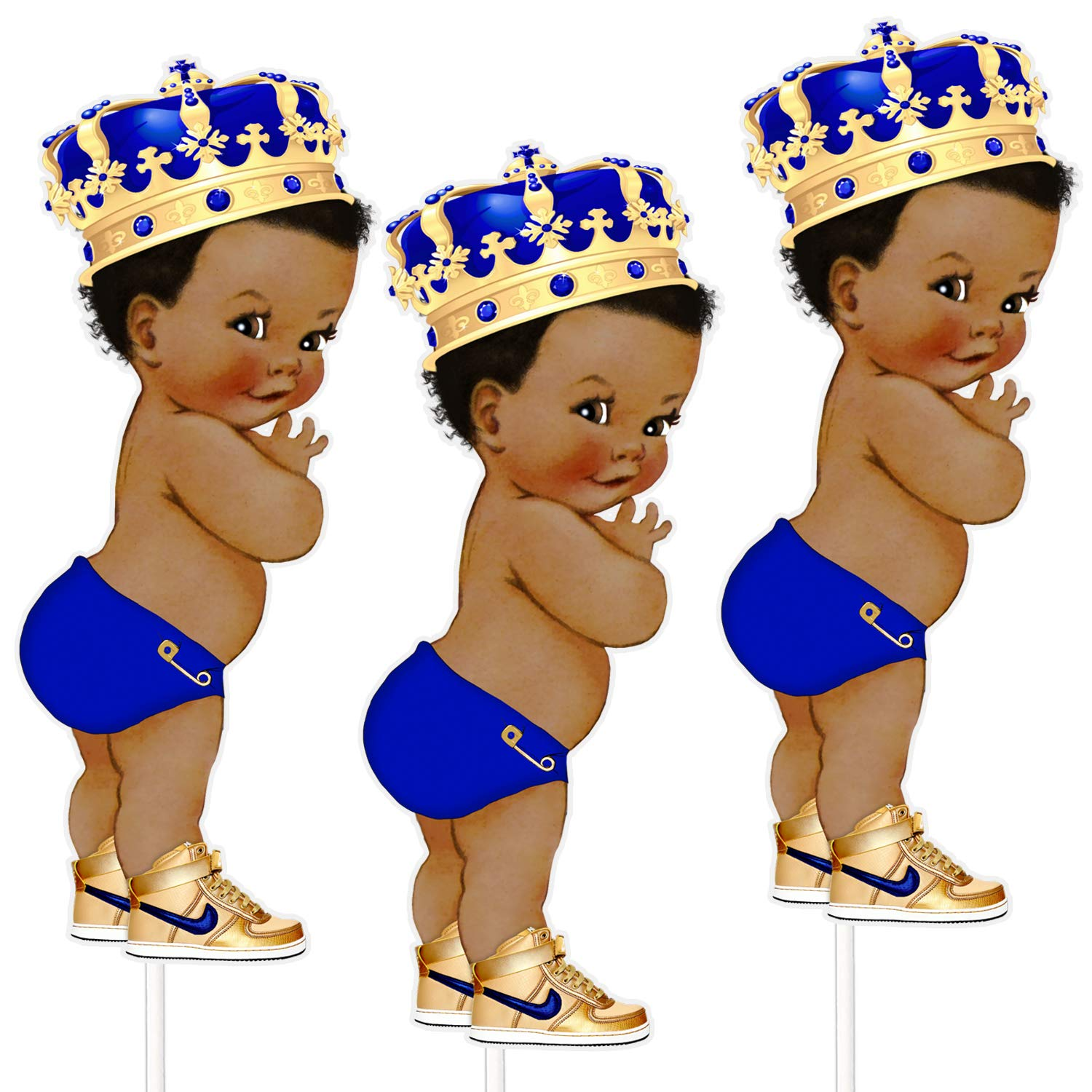 8 inches Royal Blue Little Prince Table Decoration Centerpieces, Set of 3  African American Prince Birthday Centerpieces.
