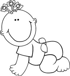 Cute Baby Clipart Black And White.