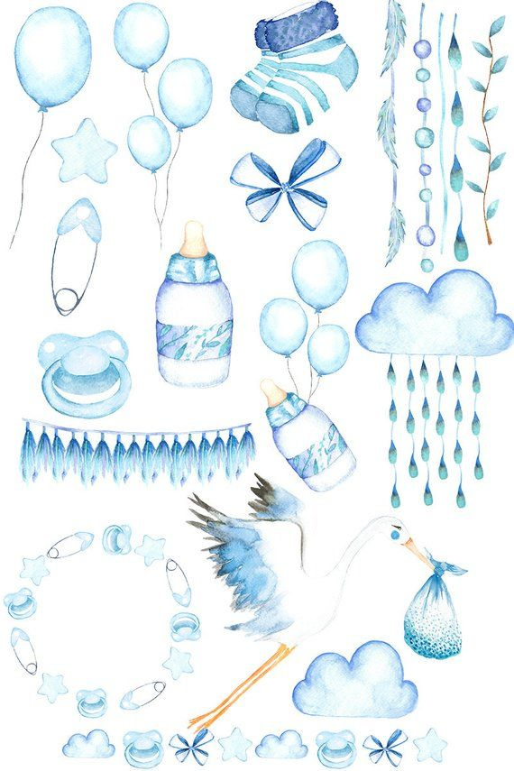 babyshower clipart watercolor, babyboy clipart, babyparty.