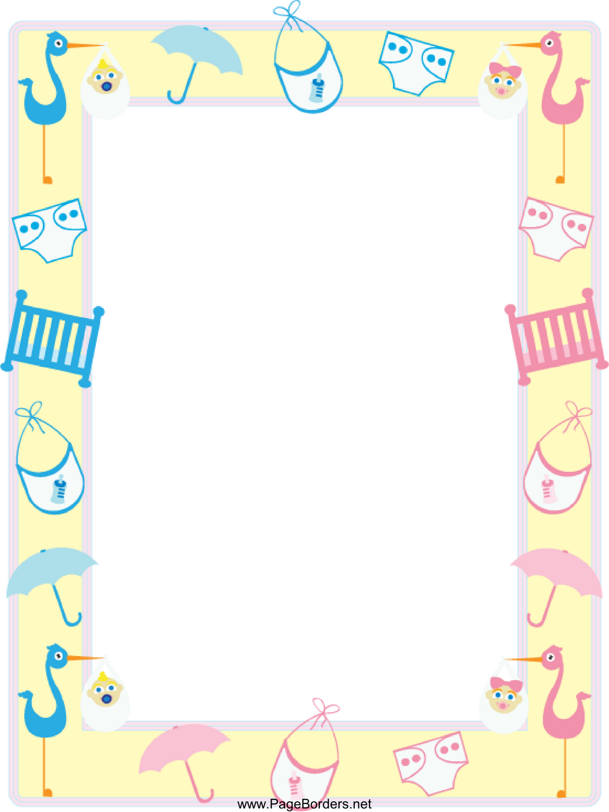 Baby Shower Border Clipart.