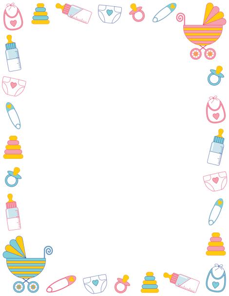 Printable baby shower border. Free GIF, JPG, PDF, and PNG.
