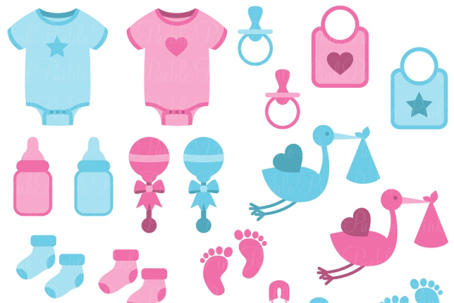 Boy and Girl Baby Clipart & Vectors ~ Illustrations.