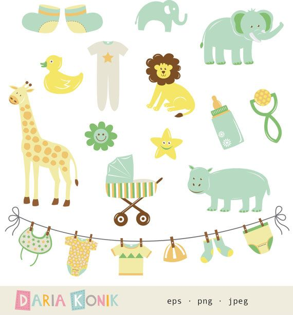 Gender Neutral New Baby Clip Art Set.