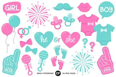 Gender Reveal Clip Art, Baby Clipart, Baby Shower Clip Art.