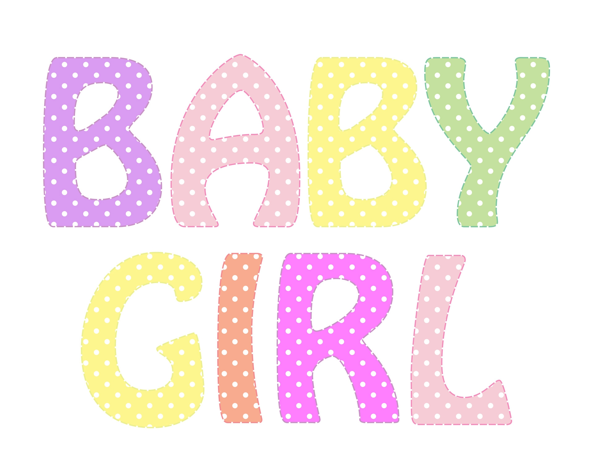 Girl Baby Words Clipart.