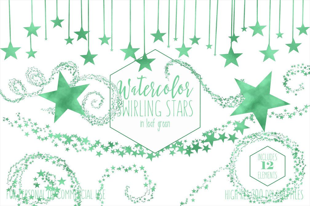 LEAF GREEN STARS Clipart Commercial Use Clip Art Watercolor.