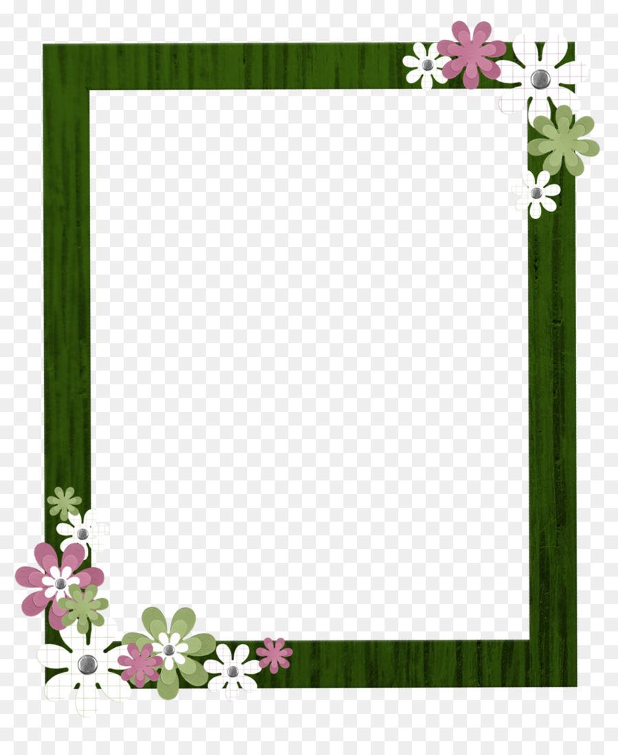 Green Flowers Border Design.