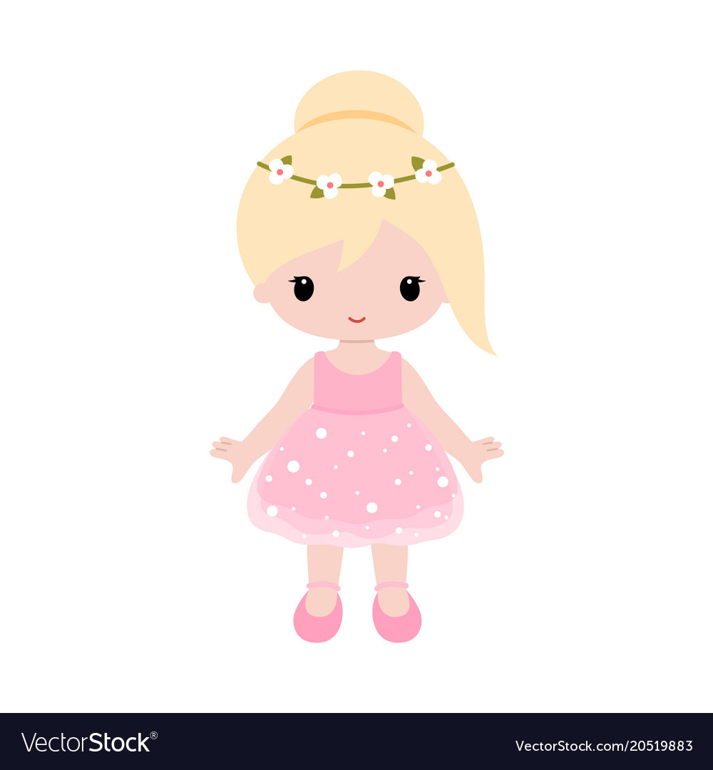 Cute baby ballerina in pink dress clipart.