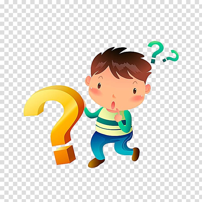 Cartoon and question mark transparent background PNG clipart.