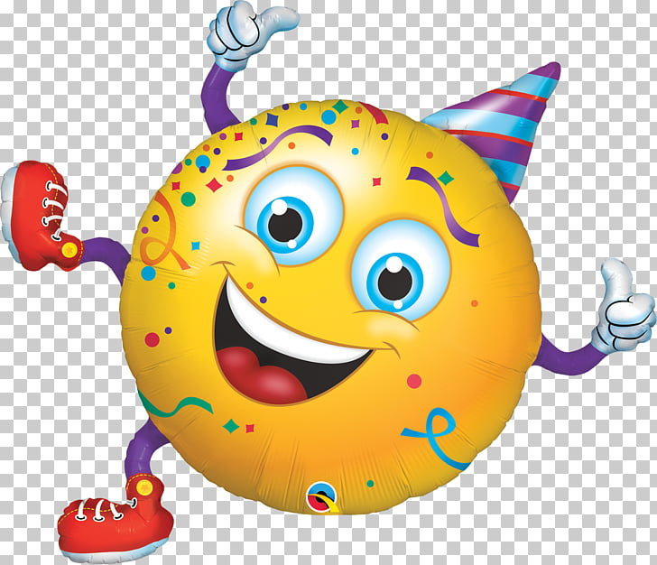 Smiley Emoticon Balloon Party hat, smiling baby milk PNG.