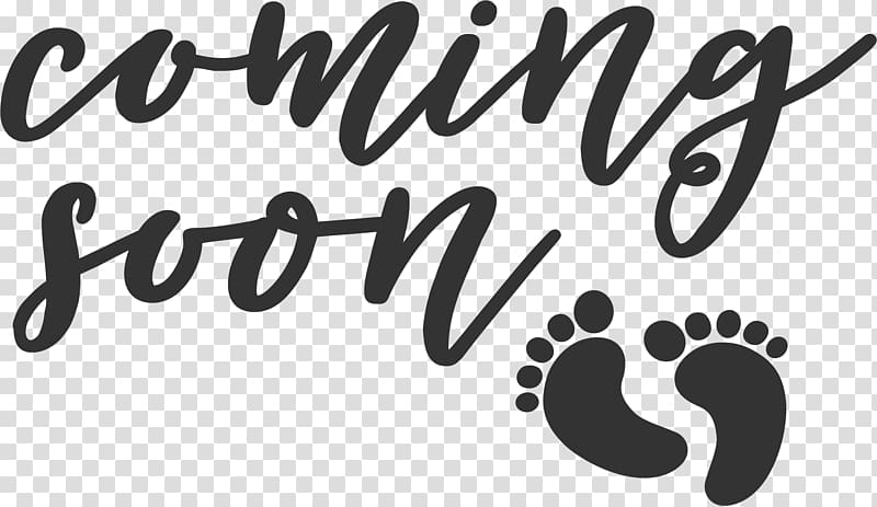 Coming Soon text with foot prints illustration, Infant Child.