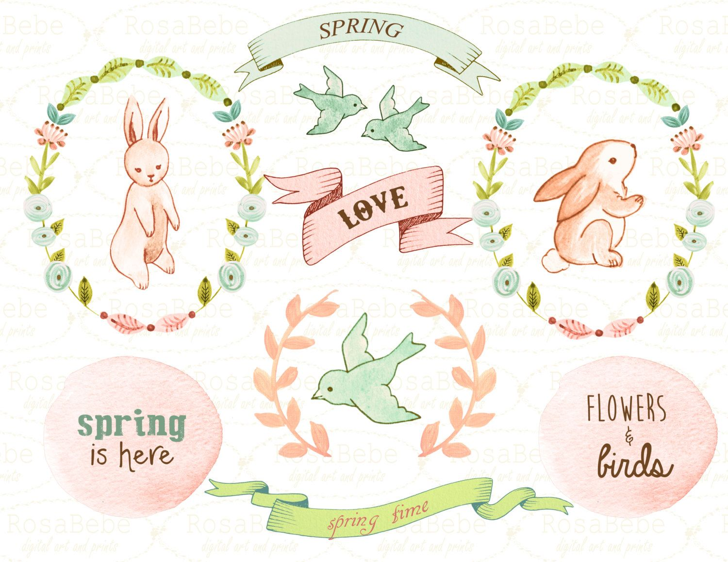 Floral clipart, baby clipart, bunny clipart, spring clipart.