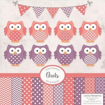 Vintage Girls Owls Vectors & Papers.