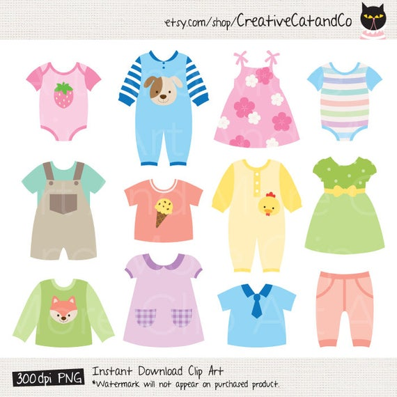Baby dress Clipart Baby Shower Clipart Baby Clothes Clipart.