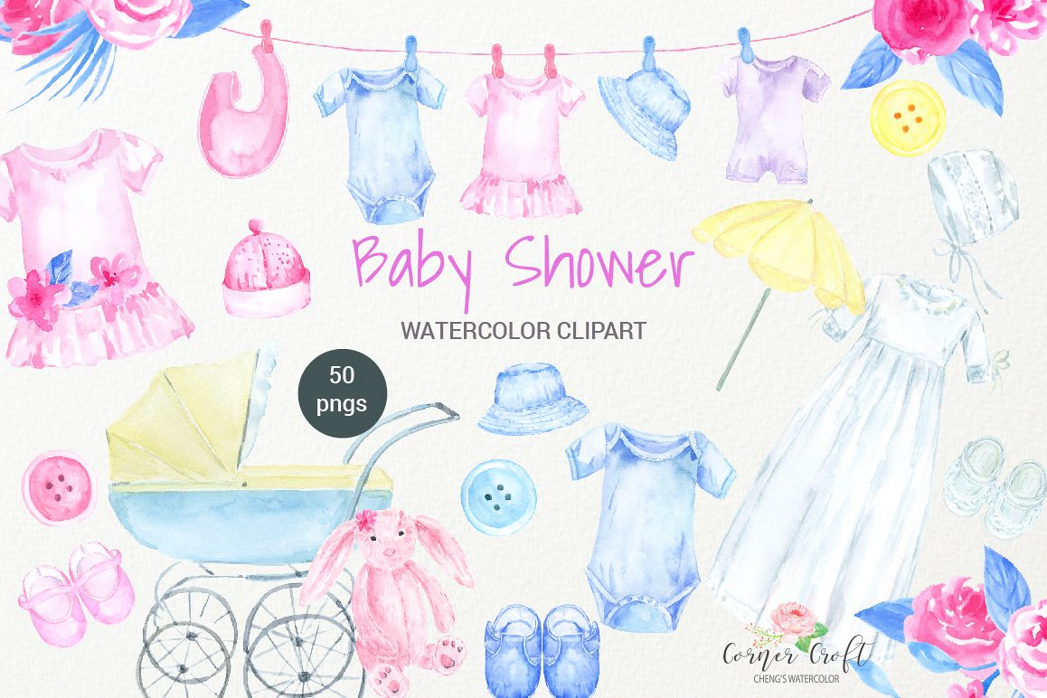 Watercolor Clipart Baby Shower, Baby Cloth, Pram, Crib, Christening Gown,  Dress.