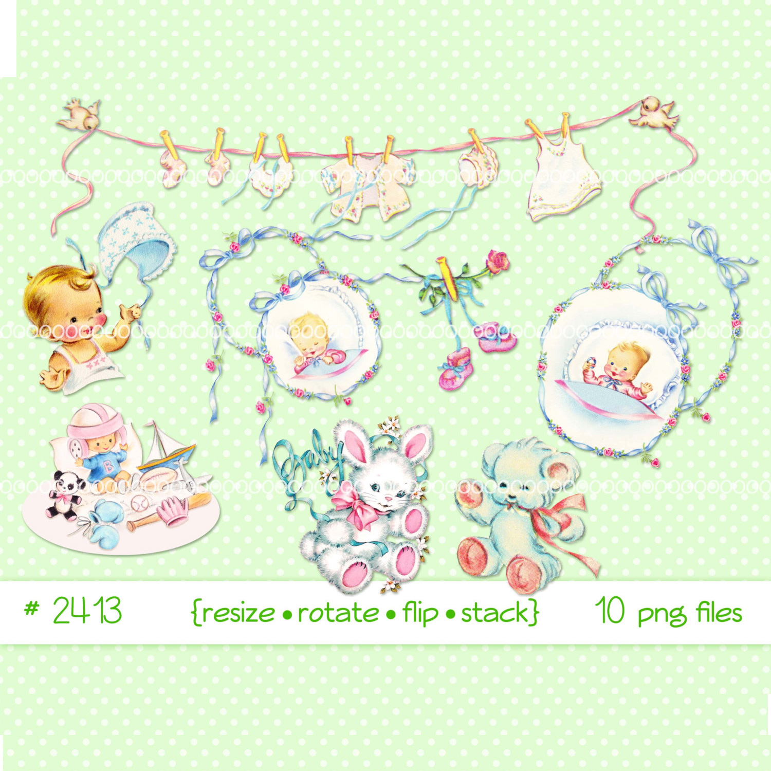 Baby clip art, vintage baby images, baby clothes, bunny, teddy bear, ribbons.