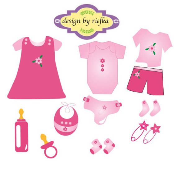 Pink Baby Clothes Clipart.