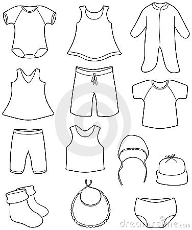 Baby Clothes Clipart Black And White