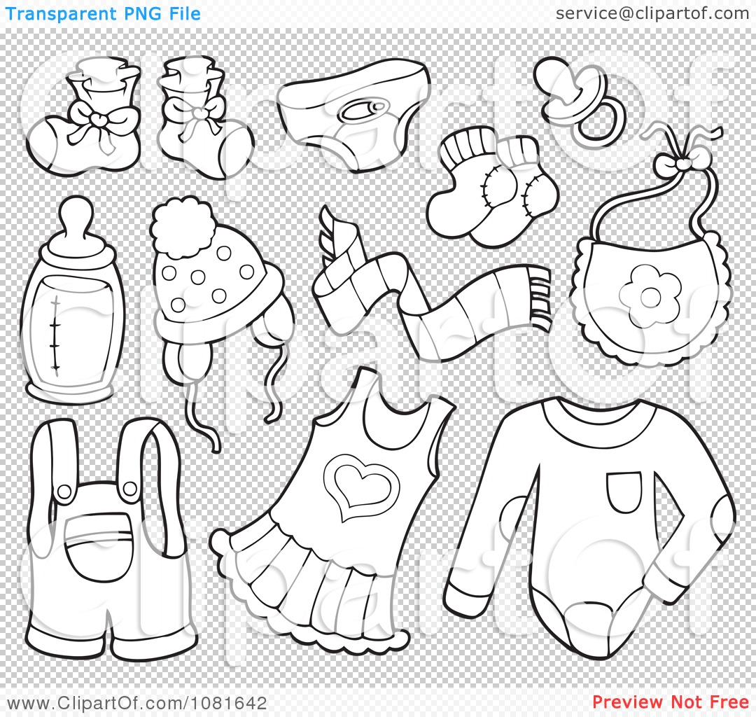 Clipart Outlined Baby Clothes And Items.