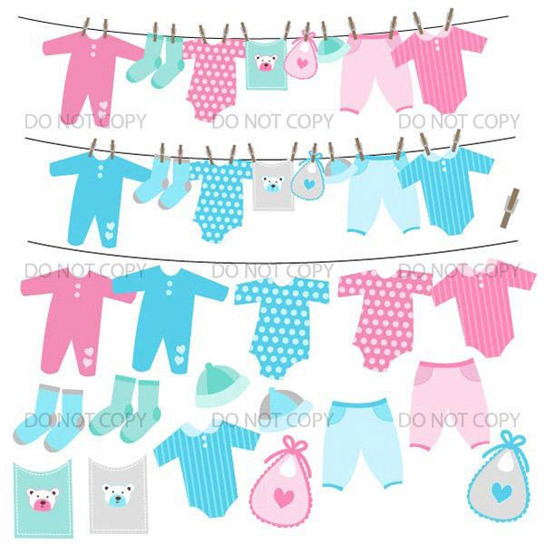 Baby Clothesline Clipart, Baby Clipart, Baby Shower Clip Art.