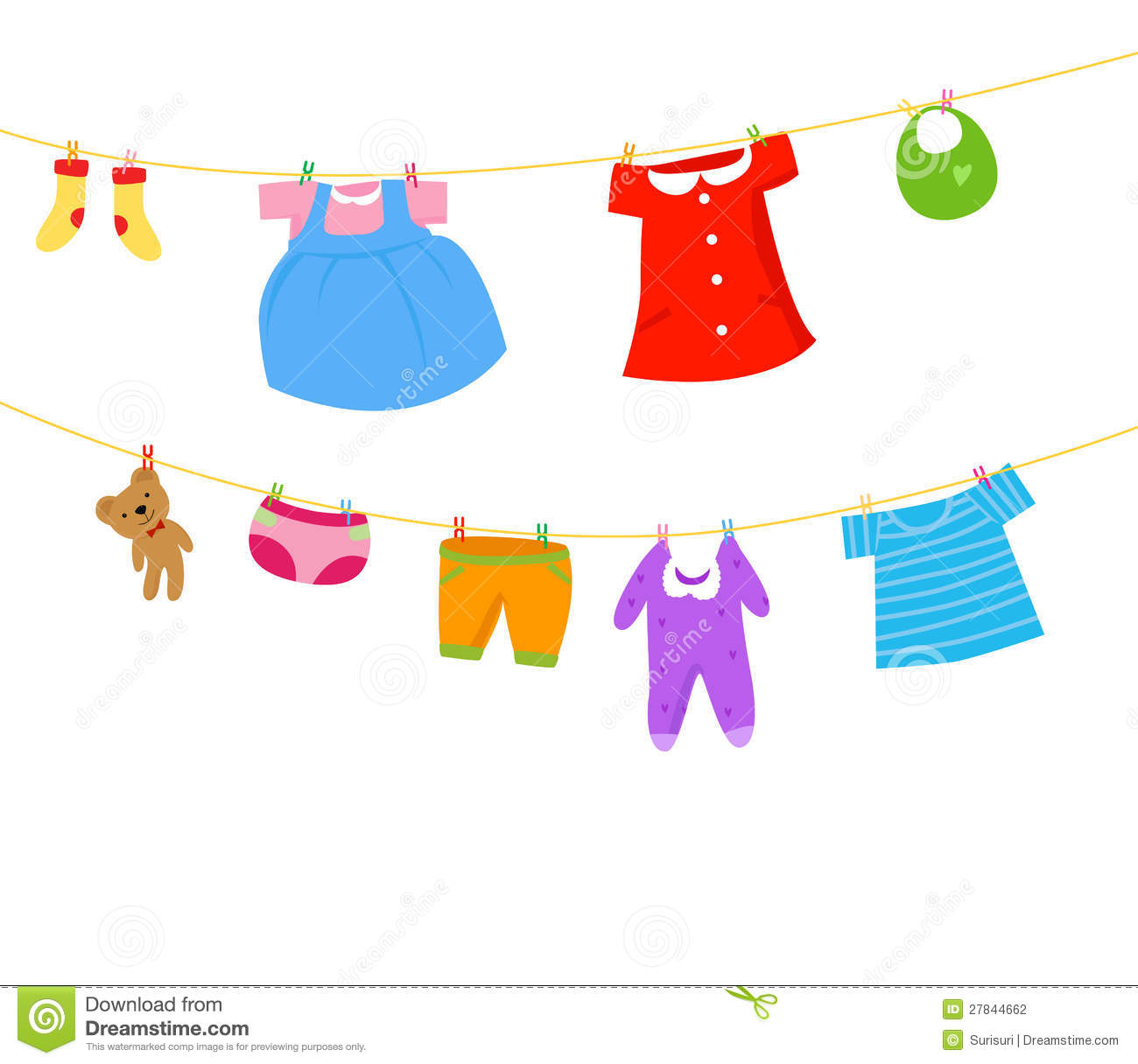 Baby Clothes On Washing Line Clipart.