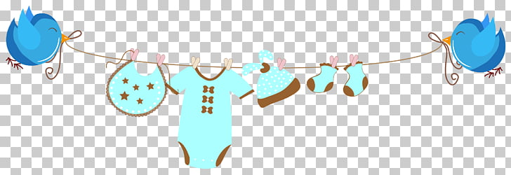 Infant Banner Child Illustration, Baby clothes drying , blue.