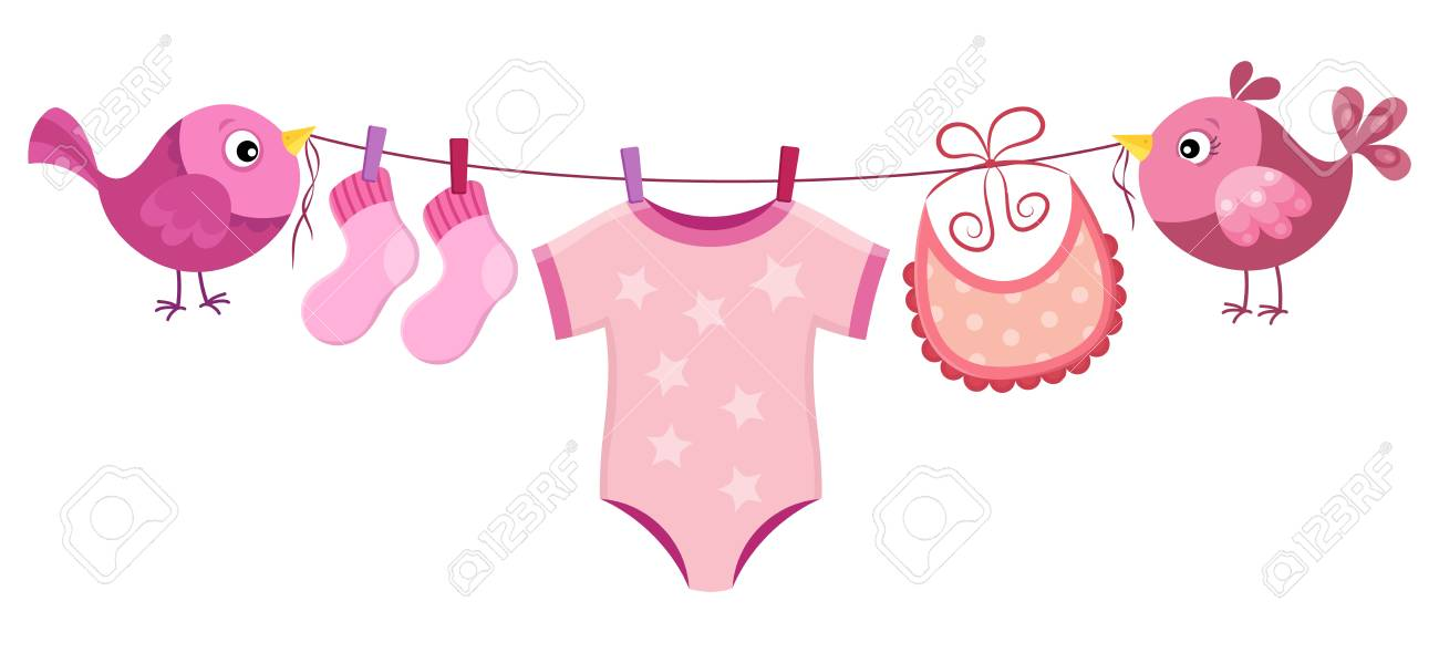 Line with clothing for baby girl hanging. vector illustration.