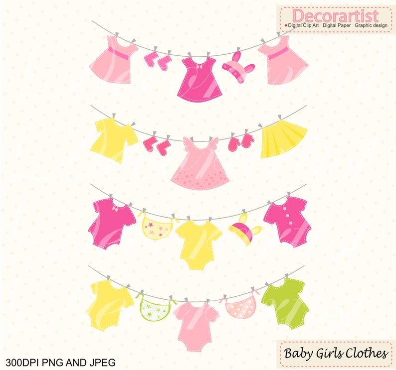 baby clothes hanging clipart, Baby girl ClipArt , pink baby Clothes Line  clipart, INSTANT Download.