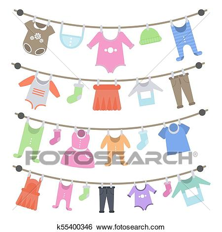 Baby clothes hanging. Clip Art.