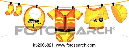 Vector Baby Boy Clothes in Construction Style Hanging on Line Clipart.