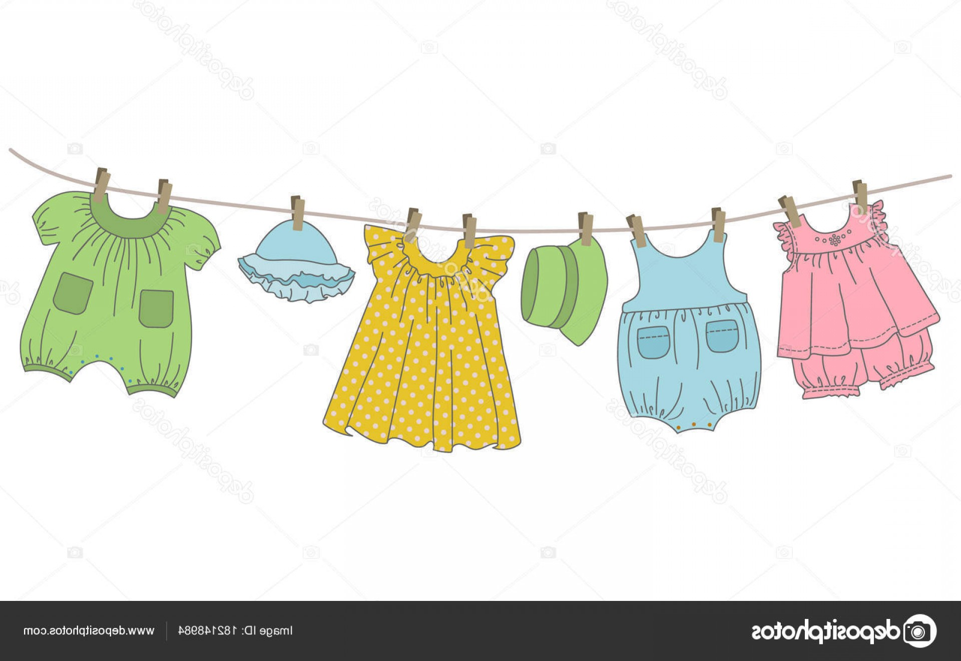 Stock Illustration Baby Clothes Hang Clothesline Things.