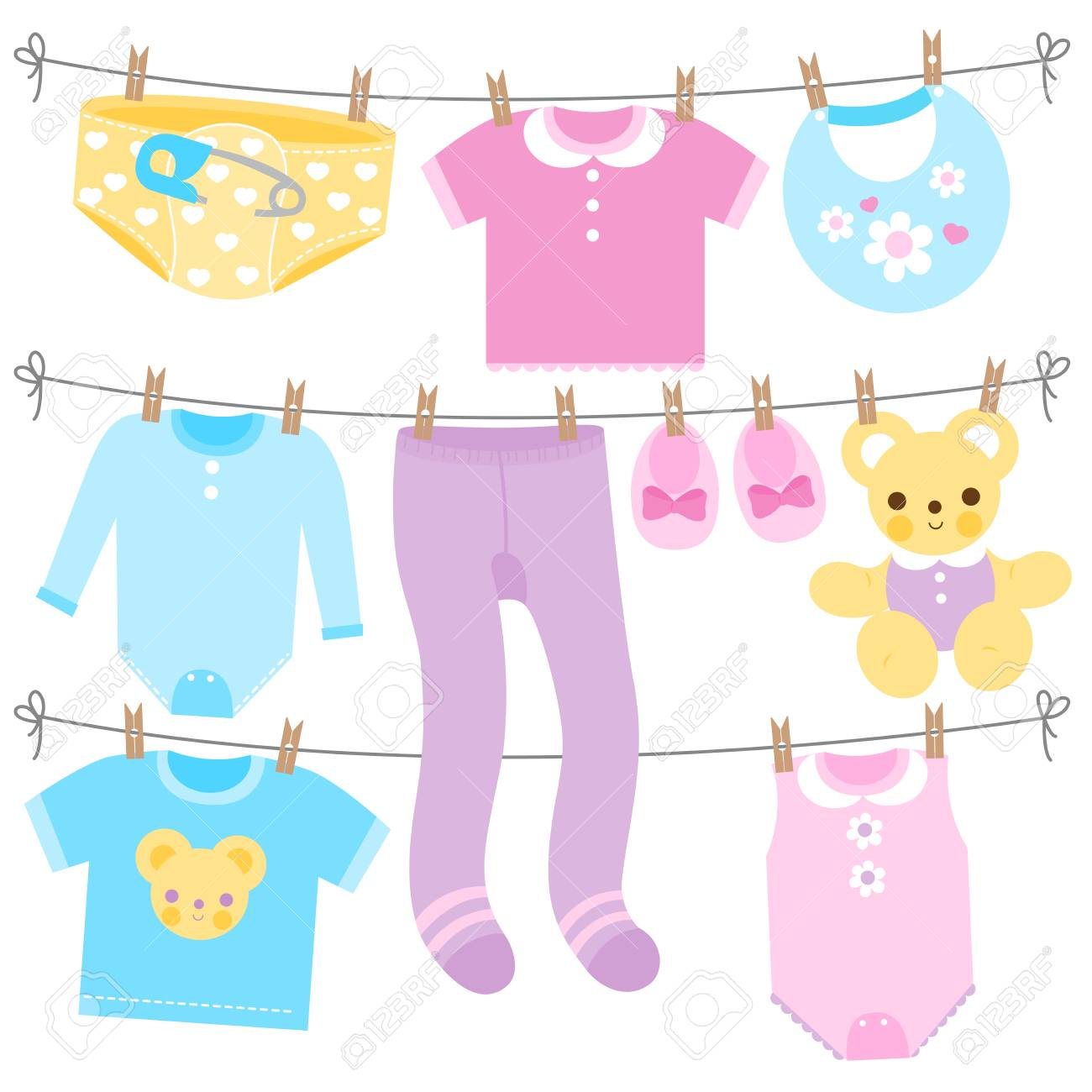 Baby girl and baby boy clothes collection hanging on clothes...